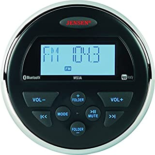 Sale Off Jensen MS3ARTL AM/FM/USB/Bluetooth Compact 3.5' Round Waterproof Stereo with App Control