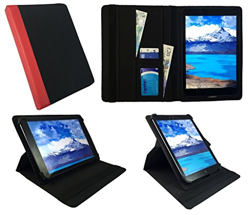 Sweet Tech Alcatel 3T 8 Inch Tablet Black with Red Trim Universal 360 Degree Rotating Wallet Case Cover Folio with Card…