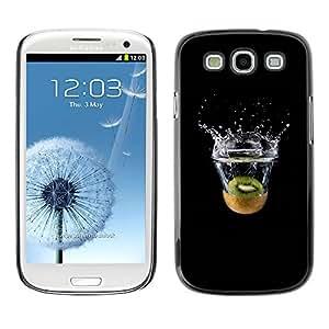 KLONGSHOP // Cubierta de piel con cierre a presión Shell trasero duro de goma Protección Caso - Kiwi Splash - Samsung Galaxy S3 //