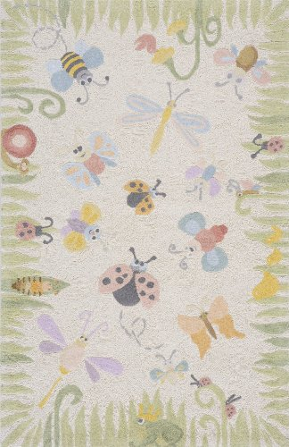 Momeni Rugs LMOINLMI-4MTI3050 Lil' Mo Classic Collection, Kids Themed 100% Cotton Hand Hooked Area Rug, 3' x 5', Multicolor - Damask Loop Hooked Rug