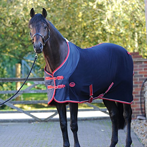 Weatherbeeta Fleece Standard Neck Cooler Rug 5ft Navy/Red/White Weatherbeeta Cooler