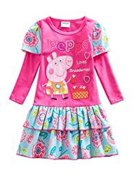 LEMONBABY Spring Fall Girl's Peppa Pig long sleeve cotton casual brithday dress