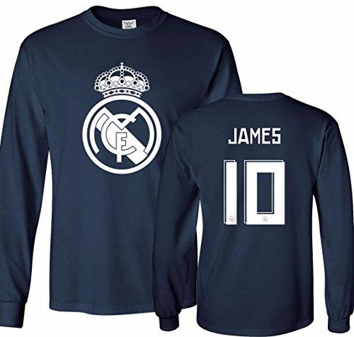 Tcamp Real Madrid Shirt James Rodriguez #10 Jersey Youth Long Sleeve T-shirt
