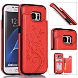 Back Wallet Case for Samsung Galaxy S7 Edge with Stand,QFFUN Elegant Embossed Design [Butterfly Flower] Lightweight Slim Fit Leather Phone Case with Card Holder Protective Bumper Flip Cover - Red