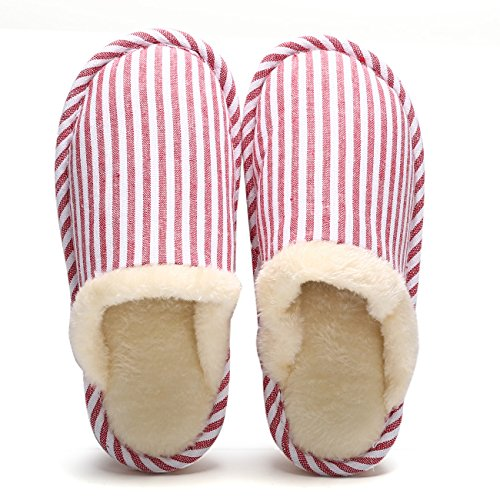 Eagsouni Women's Men's Winter Warm Slippers Couples Home Plush Cotton Stripe Indoor House Floor Anti-Slip Shoes Red Tq8rUGs