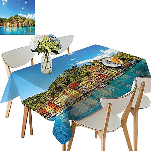 UHOO2018 Square/Rectangle Polyester Cloth Fabric Cover Mediterranean European Town by The Sea Portofino Italian Harbor Panorama Blue Green Table Top Cover,50 x102inch