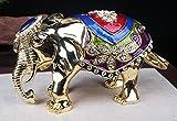 Big Elephant Trinket Box Enamel Over Pewter Elephant Decorative Jewelry Keepsake Box Animal Thailand Gift Metal Crafts (20x11 CM)