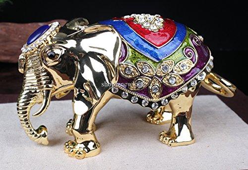 Big Elephant Trinket Box Enamel Over Pewter Elephant Decorative Jewelry Keepsake Box Animal Thailand Gift Metal Crafts (20x11 CM) by znewlook