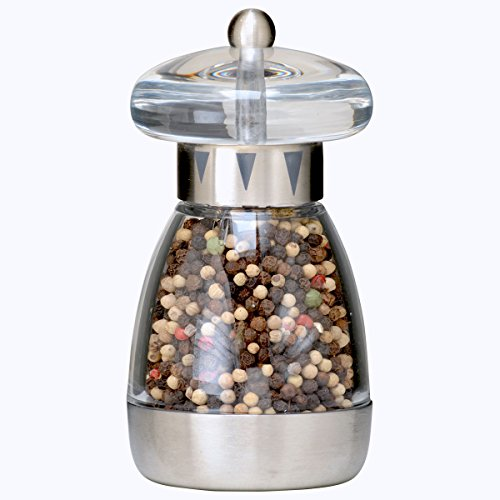 William Bounds 04121 Mushroom Mill - Pepper Grinder - Acrylic and Brushed Stainless Steel Finish