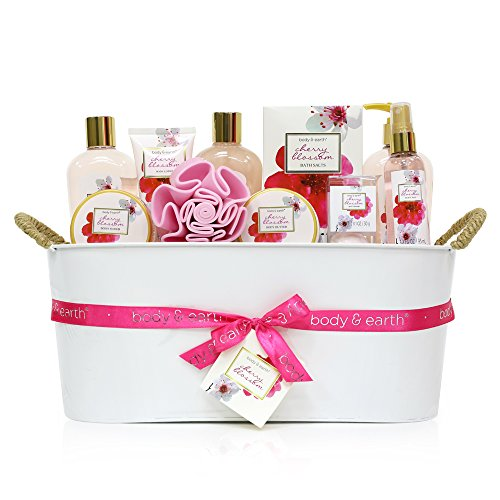 Gift Baskets for Women, Body & Earth Bath Gifts for Women, Luxurious Spa Gift Set for Her, Cherry Blossom 11pc set, Best Birthday Gift Idea