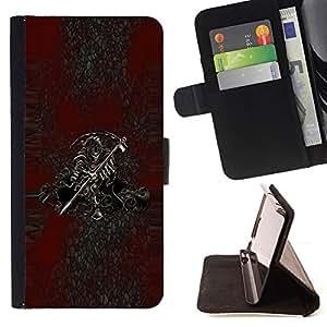 - Grim Reaper Death - - Prima caja de la PU billetera de cuero con ranuras para tarjetas, efectivo desmontable correa para l Funny HouseFOR HTC One M9