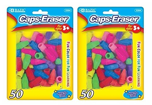 2 Pk, Bazic Caps Eraser Assorted Colors, 50 Per Pack/Total of 100 ()