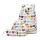 kenmore 10 pc - 3 Pcs/Set School Backpack Women Cartoon Cat Printed School Bags For Teenage Backpacks Lady Shoulder Bags 915d