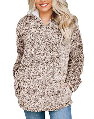 MIROL Women's Long Sleeve 1/4 Zipper Pullover Sherpa Fleece Winter Oversized Outwear Sweatshirt Coat with Pockets Brown ()