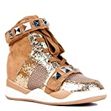 Qupid MITCHELL-03 Studded High Top Lace Up Glitter Wedge Sneaker