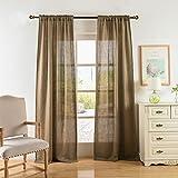 Valea Home Soft Burlap Natural Tan Rod Pocket Window Curtain Panels for Living Room Patio Door, 37'' x 84'', 1 Panel