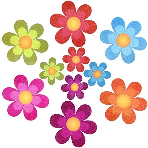 UCOFFEE Non-Slip Bathtub Shower Stickers, 10 Pcs Large Flower Shape Adhesive Kids Anti Slip Decal Treads for Bath Tub/Showers/Pools/Bathrooms