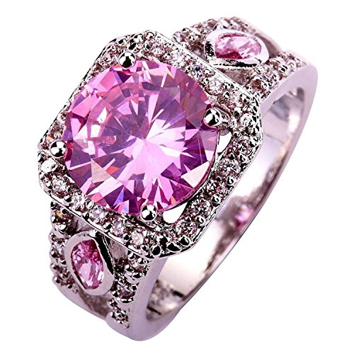 Psiroy Women's 925 Sterling Silver Created Pink Topaz Filled Halo Anniversary - Pink Silver And