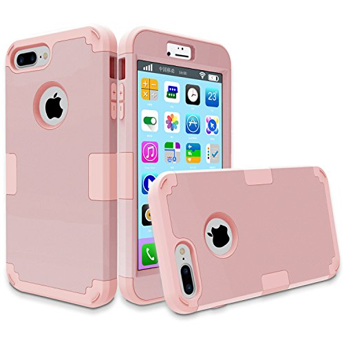 iPhone 7 Plus Case, MCUK 3 In 1 Hybrid Best Impact Defender Cover Silicone Rubber Skin Hard Combo Bumper with Scratch-Resistant Case For Apple iPhone 7 Plus (2016) (Rose Gold+Rose (Crystal Clear Football)