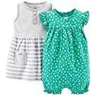 Carter's Baby Girls' 2 Piece Dress & Romper Set (Baby) - Turquoise - 3 Months