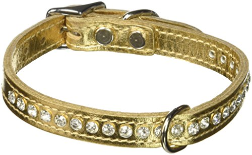 - OmniPet Signature Leather 14-Inch Crystal and Leather Dog Collar, Metallic Gold