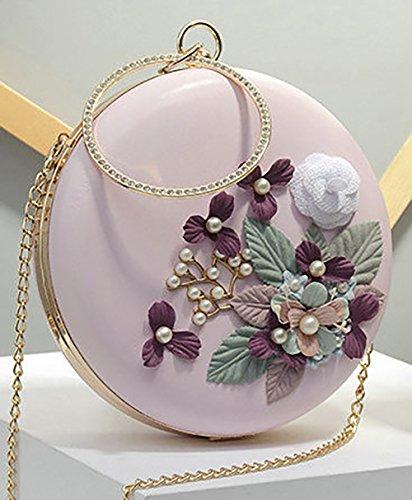 3d Bianco Onfashion Perle fiori tonda donna Notte Cuoio Shell Borsa Spalla Rosa Spalla Borsa Mano Fiori xqqz4f6Bw