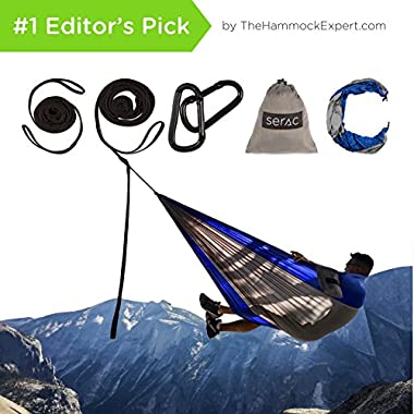 Classic Serac Adventure Hammock with Suspension System • Easiest and Quickest Setup Available (10 Connection Point Tree Straps) • Ultralight & Quality Comfort for Camping, Travel, and Backpacking