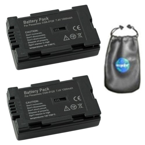 amsahr ValuePack (2 Count): Digital Replacement Camera and Camcorder Battery for Panasonic CGR-D120, CGR-D08, AG: DV1DC, DVC7, DVC15, DVC30, DVC32, DVC60, DVC62, DVC80-Includes Lens Accessories Pouch