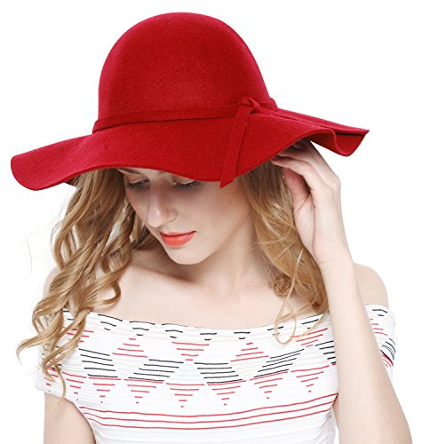 Brim Hat Wool Large Red (Lovful Women 100% Wool Wide Brim Cloche Fedora Floppy hat Cap,Red,One Size)
