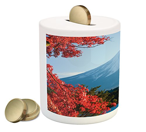 (Lunarable Landscape Piggy Bank, Mountain Fiji with Snowcapped Summit and Lake Maple Trees in Autumn, Printed Ceramic Coin Bank Money Box for Cash Saving, Paprika Blue and Green)