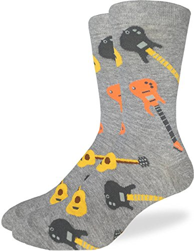Good Luck Sock Men's Guitars Crew Socks - Grey, Adult Shoe Size 7-12