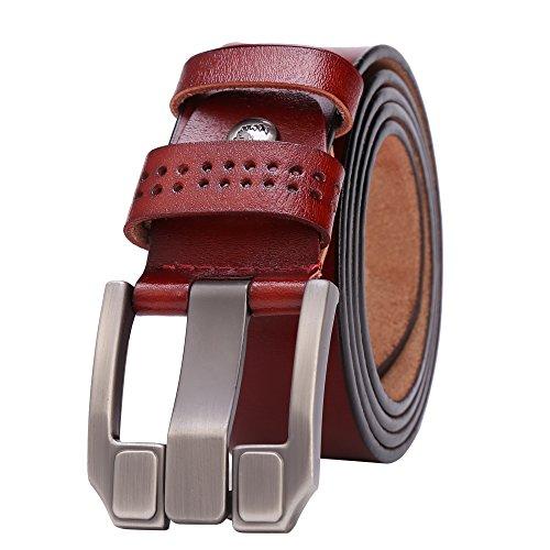 BISON DENIM Classic Belts For Men - Mens Genuine Leather Belt for Dress & Jeans Brown 125cm by BISON DENIM (Image #1)