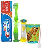 """Scooby Doo"" Inspired 4pc Bright Smile Oral Hygiene Set! Flashing Lights Toothbrush, Toothpaste, Brushing Timer & Mouthwash Rinse Cup! Plus Bonus ""Remember to Brush"" Visual"