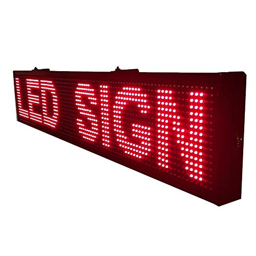 LED SIGN 16 Inch X 75 Inch MESSAGE DISPLAY RED COLOR SCROLLING MESSAGE TEXT PROGRAMMING VIA ()
