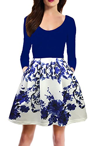 Zalalus Women's Vintage Fit and Flare Cocktail Dresses 3/4 Sleeve Backless Wedding Guest Floral Formal Party A Line Dress with Pockets Blue Large - Fall Print Dress