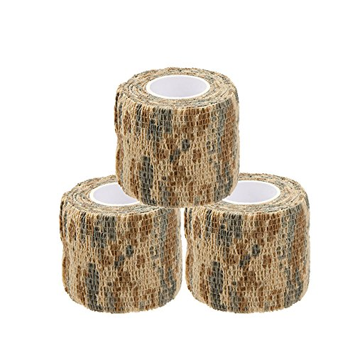 Uning Self-adhesive Protective Camouflage Tape Wrap 5CM x 4.5M Tactical Camo Form Multi-functional Non-woven Fabric Stealth Tape Stretch Bandage for Outdoor Military Hunting (Pack of 3) (Camouflage 4)