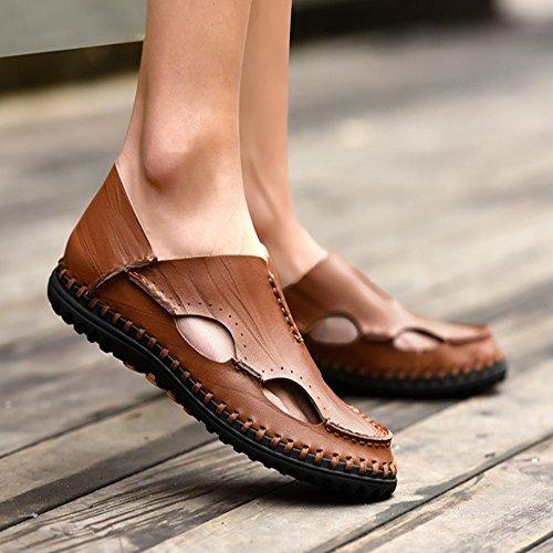 Dark in Color 1 41 uomo traspiranti regolabili traspiranti sandali 3 Brown Dark pelle sandali estive Size brown ciabattine Sandali da EU PHnqAW1aHB