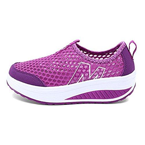 Zapatos de Mujer Plataforma Malla Andar Deporte Zapatilla de Deporte Running Zapatillas Sacudir Casual Zapatos Height-increasing Sneaker morado