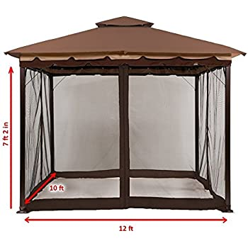 MasterCanopy 10u0027 x 12u0027 Mosquito Netting Screen walls for 10u0027x 10u0027 and 10u0027 x 12u0027 Gazebo Canopy  sc 1 st  Amazon.com & Amazon.com : Sunjoy L-GZ436PFB Fabric Replacement Privacy Panel ...