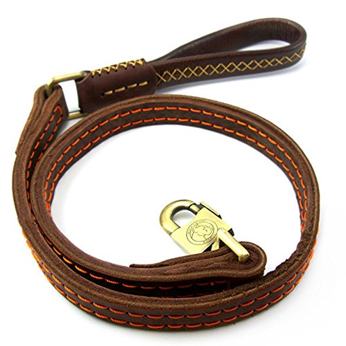 Jpettie Premium High Grade Paded Brown Leather Dog Leash, 4ft Handmade Top Quality 1 width Leather Leash With Soft Handle for Owners When Walking  T…