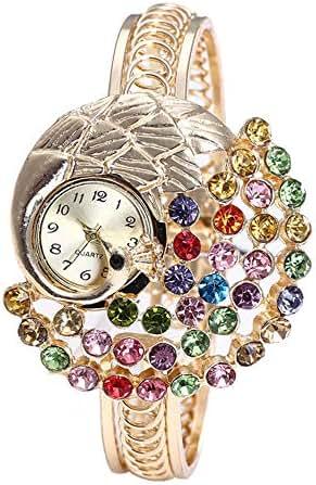LUXISDE Women's Wrist Watches A Women Round Full Diamond Bracelet Watch Analog Quartz Movement Wrist Watch