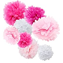 """WYZworks Set of 8 (Assorted Pink and White Color Pack) 8"""" 10"""" 12"""" Tissue Pom Poms Flower Party Decorations for Weddings, Birthday, Bridal, Baby Showers, Nursery, Décor"""
