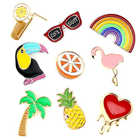 Cartoon Brooch Pins Animal Flamingo Cat Enamel Pin Set Rose Lapel Pins Badge for Women and Men (Flamingo Rainbow Music set of - Enamel Floral Brooch Pin