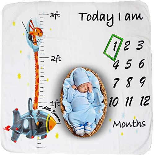 Baby Monthly Milestone Blanket Boy - Giraffe Plush Fleece Baby Photography Backdrop Memory Blanket for Newborns Large - New Moms Baby Shower Gift Set (Print Bedding Photo)