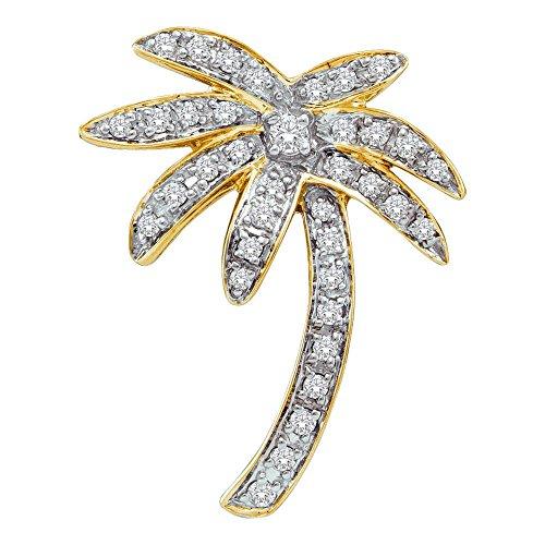 Yellow Gold Womens Round Diamond Palm Tree Nautical Pendant 1/4-Carat tw ()