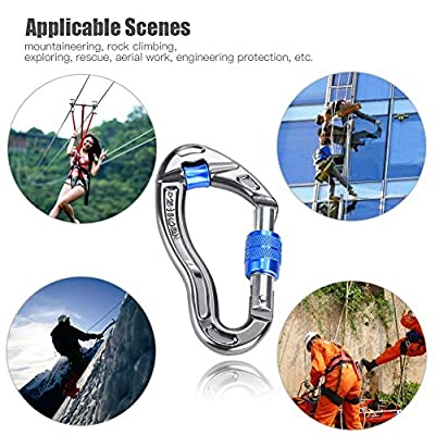 Carabiner - Delaman 25KN Ultra Sturdy Locking Carabiner Clips, Screw Locking Hook Rescue Equipment for Rock Climbing Hiking, Outdoor and Gym (Color : Blue): Automotive