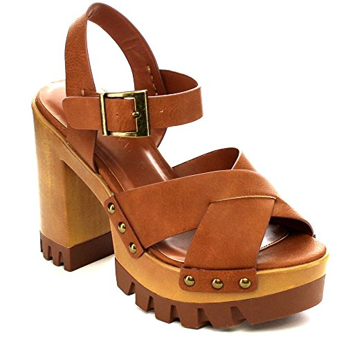 Wild Diva LESLIE-02 Women's Criss Cross Ankle Strap Platform Stud Chunky Sandals, Color:WHISKY, Size:8