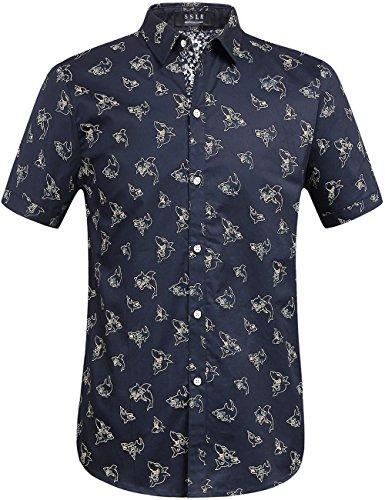 (SSLR Men's Shark Print Casual Button Down Short Sleeve Shirt (Medium,)