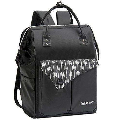 Lekesky Wasserdicht Damen Rucksack mit Laptopfach & Anti Diebstahl Tasche, Schwarz