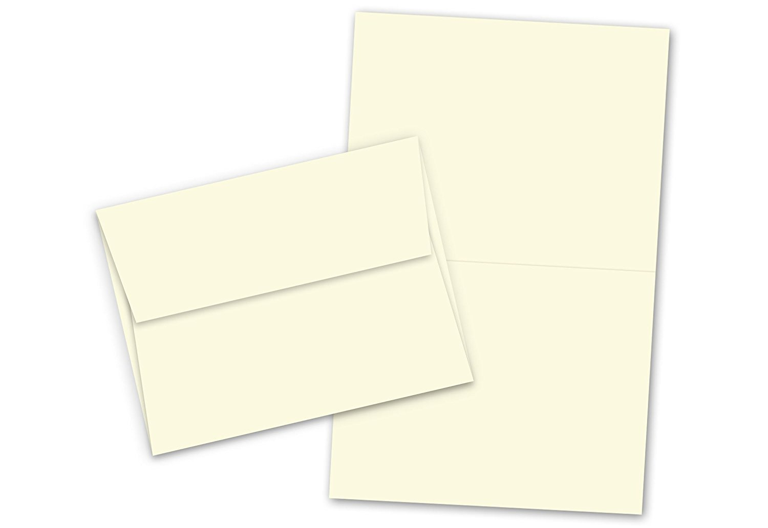 Blank Cream Color |Folding Greeting Card Sets | Card Size: 4 1/4 x 5 1/2 Inches (When Folded) | 50 Cards & 50 Envelopes